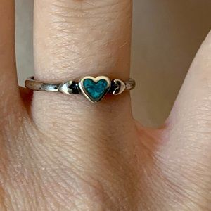 Jewelry - Size 6 Sterling Turquoise Heart Ring